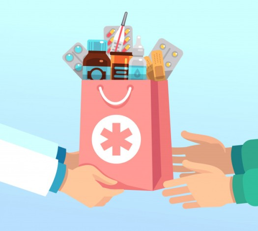 pharmacist-gives-bag-with-antibiotic-drugs-according-recipe-hands-patient-pharmacy-vector-concept_53562-7866